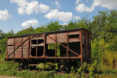 Old abandoned railway wagon. On an obsolete track royalty free stock photos