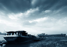 Old abandoned river barge Royalty Free Stock Photo