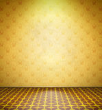 Old abandoned room with yellow wallpaper Royalty Free Stock Photos