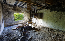 Old abandoned ruin factory damage building Stock Photography