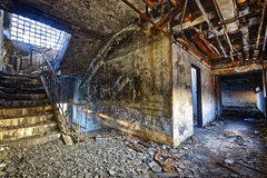 Old abandoned ruin factory damage building Royalty Free Stock Images