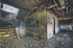 Old abandoned ruin factory damage building. Inside Royalty Free Stock Image
