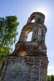 Old abandoned ruined Church in Russia on a Sunny summer day stock photo