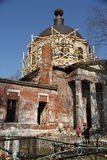 The old abandoned ruined church in the village. The old abandoned ruined church Royalty Free Stock Images
