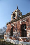 The old abandoned ruined church in the village. The old abandoned ruined church Stock Image