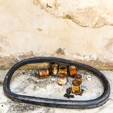 Old abandoned rusted paint cans. Surrounded by a rubber gasket Stock Photos