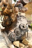 Old Abandoned Rusted Truck Engine. On the ground Royalty Free Stock Photos