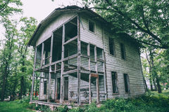 Old abandoned rustic wooden mansion house royalty free stock photography