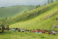 Old abandoned rusty cars in the mountains Royalty Free Stock Photo