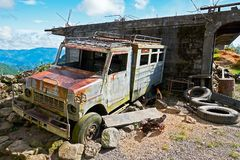 Old abandoned rusty jeepney in the Philippines royalty free stock images