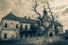 An old abandoned scary castle in gothic style black and white stock photos