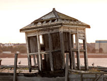 Old abandoned shack by Mersey stock image