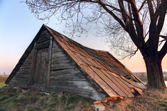 Old abandoned shed in Russian countryside Stock Photos