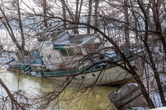 An old abandoned ship in the ice Royalty Free Stock Images