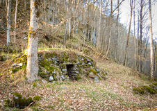 An old abandoned stone cellar in Flaten at Nes Verk in Tvedestrand, Norway. An old abandoned stone cellar in Flaten at Nes Verk in Tvedestrand, Aust-Agder Stock Photo
