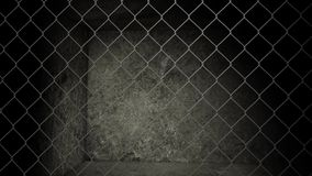 Old abandoned storage warehouse with chain link fence Royalty Free Stock Images