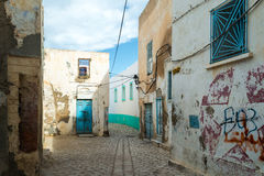 Old Abandoned Street. Old Tunisian Street in Abandoned Area Stock Photo