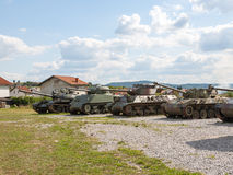 Old abandoned tanks, after war in Croatia Stock Photo