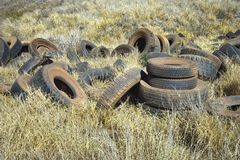 Old abandoned tires in field. Royalty Free Stock Photo