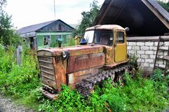 Old abandoned tracked tractor Royalty Free Stock Photos