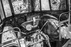Old abandoned tractor cabin interior Stock Photography
