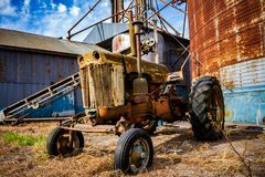 Old abandoned tractor royalty free stock photos