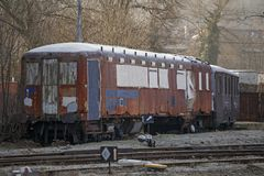 Old abandoned train, the slums. stock images