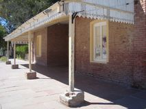 Old abandoned train station. stock photo