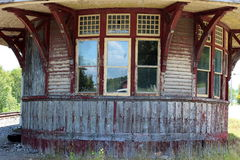 Old abandoned train station ticket office Stock Photos