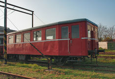 Old abandoned  trains at  depot in sunny day Royalty Free Stock Photo