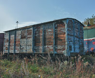 Old abandoned  trains at  depot in sunny day Stock Photography