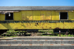 Old abandoned trains in sunny day Stock Images