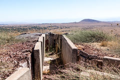 Old abandoned trenches from the time of the Yom Kippur War on the Golan Heights, near  the border with Syria, in Israel Stock Photos