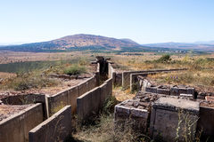 Old abandoned trenches from the time  of the Yom Kippur War on the Golan Heights, near the border with Syria, in Israel Royalty Free Stock Image