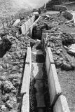 Old abandoned trenches from the time of the Yom Kippur War. On the Golan Heights, Israel Stock Photos