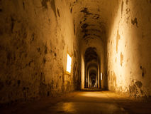 Old abandoned tunnel in fortress Royalty Free Stock Images
