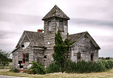 Old abandoned Vacant Empty Church Hall Building stock photo