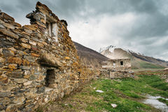 Old Abandoned Village With Dilapidated Ruined Houses In Ketrisi Royalty Free Stock Photography