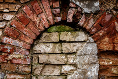 Old abandoned wall with bricked up window. Architecture detail background Stock Photography