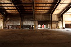 Old and abandoned warehouse stock images