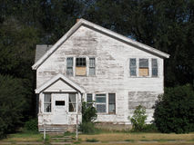 Old abandoned white American house Stock Photo