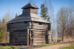 Old abandoned wooden barn, Russian village Stock Image