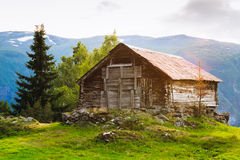 Old abandoned wooden house on a background of the Royalty Free Stock Photos