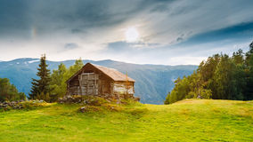 Old abandoned wooden house on a background of the Royalty Free Stock Photo