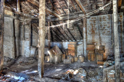Old abandoned wooden house with ghosts Stock Images