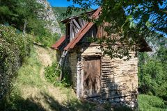 Old abandoned wooden house in Serbia stock photography