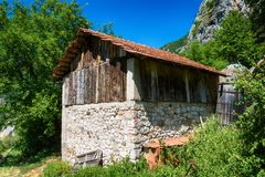 Old abandoned wooden house in Serbia stock photos