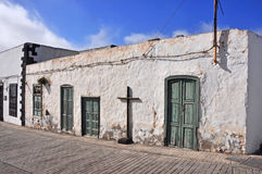 Old abandonned house on spanish island Lanzarote. Spain stock photography