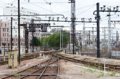 Old abandonned railway station. On an urban background stock photo
