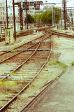 Old abandonned railway station. On an urban background stock photography